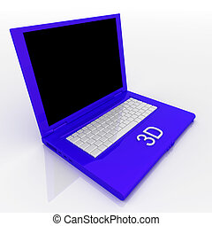 Laptop computer with word 3d on it - 3D blank laptop...