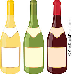 Wine bottles - Yellow, green and red wine bottle...