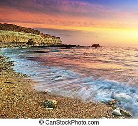 Beautiful seascape. Nature compositon of sunset.