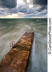 Breakwater in sea Natire composition