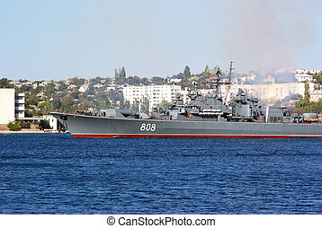 military ship in town