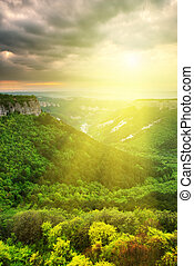 Beautiful valley sunshine. Composition of nature.