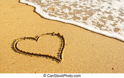 Heart on beach - Heart on the snad beach. Conceptual design.