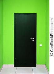 One black door. Element of design.