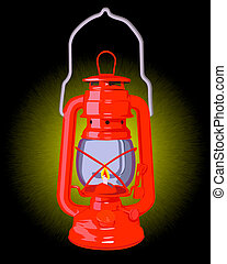 burning red oil lamp on a black background