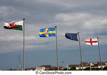 Four flags flying