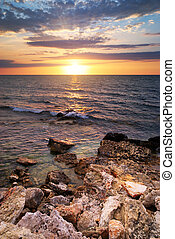 Beautiful seascape Sea and rock at the sunset Nature...