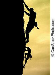 Climber - Silhouette of climber. Element of design.