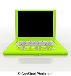 Laptop computer with word design on it - 3D blank laptop...