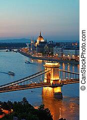 Budapest Skyline at night. - View of Chain Bridge, Hungarian...