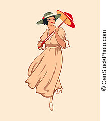 Retro girl - Art nouveau spring fashion girl with umbrella