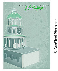 Vintage Halifax Town Clock greeting card