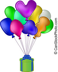 Balloons with a gift box - Balloons all colours of a rainbow...