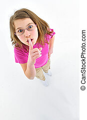 Gesture girl to her lips to indicate silence.