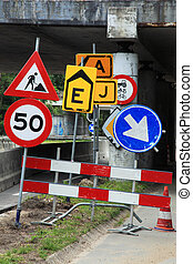 traffic signs vertical image - confusing lot of traffic...