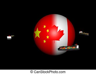 ships around China Canada flag sphere - Container ships...
