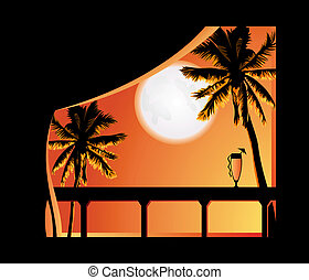 Tropic night - Bright tropical night view from the resort...