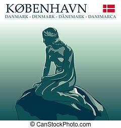 Copenhagen Mermaid - Postcard with The Little Mermaid in...