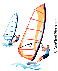 Windsurfing - A pair of windsurfers at the competition