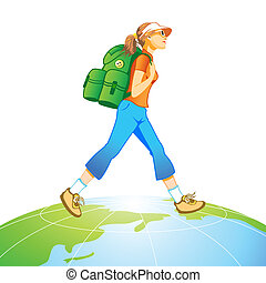 Travel world - Traveling tourist girl with backpack at the...