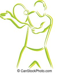 Tennis player - Outline of tennis player sports person