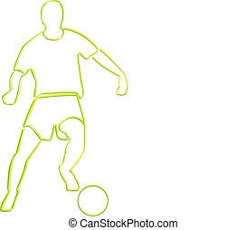 Football Player 01BB - outline of Football player with ball