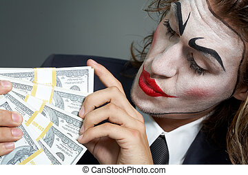 Acting businessman - Portrait of man with painted face...
