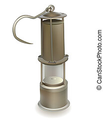 old miner's lamp on a white background