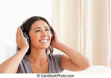 婦女, 耳機, 迷人