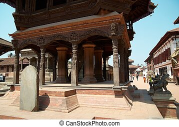Temple of Baktaphur city, Nepal - Temple of old buddhistic...