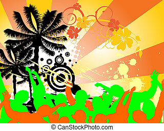 beach party - vector illustration of dancing people...