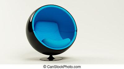 Modern blue black cocoon ball chair