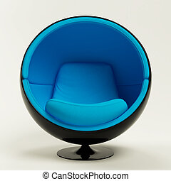 Modern blue black cocoon ball chair isolated on white...