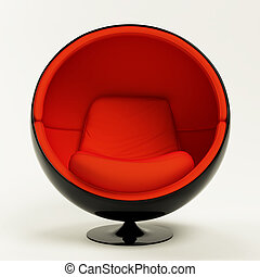 Modern red black cocoon ball chair isolated on white...