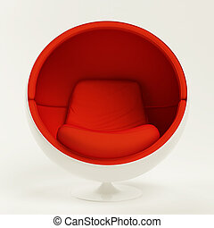 Modern red cocoon ball chair