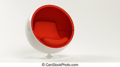 Modern red cocoon ball chair isolated on white background