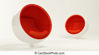 Modern red cocoon ball chairs - Two modern red cocoon ball...