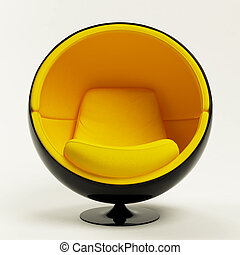 Modern yellow cocoon ball chair isolated on white background...