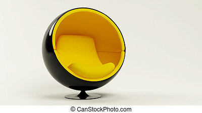 Modern yellow cocoon ball chair