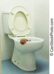 hand in toilet - somebody hand trap in toilet...