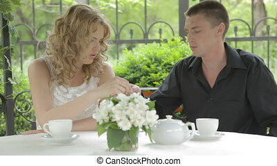 Dating romantic young couple eating