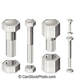 Metal Bolt and Nut - Set of different size metal bolts and...