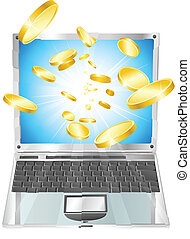 Gold coins flying out of laptop computer