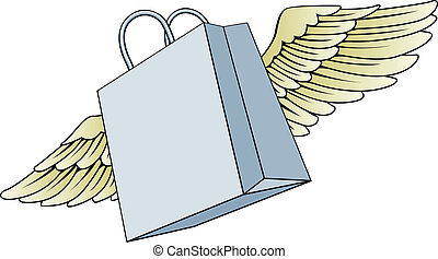 Shopping bag flying with wings concept - An illustration of...