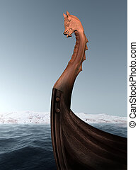 Viking longboat - Illustration of an ancient wooden...