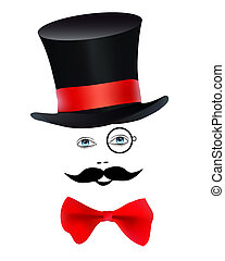 magician on a white background - eyes with a monocle and...