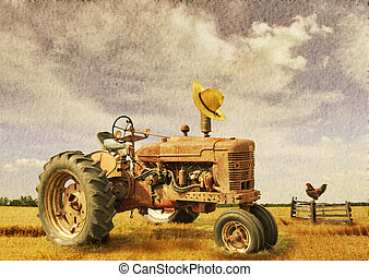 farm theme - image of old tractor on a field with texture