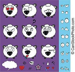 sheep baby cartoon set01 - sheep baby cartoon set in vector...