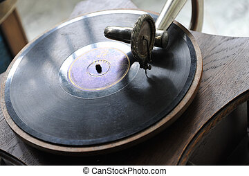 vintage gramophone - Close up at vintage gramophone. playing...