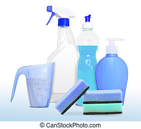Set of unlabeleled cleaning products in blue - Set ot four...